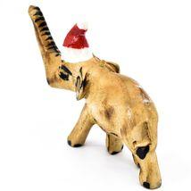 Hand Carved Painted Jacaranda Wood Santa Hat Elephant Safari Christmas Ornament image 3