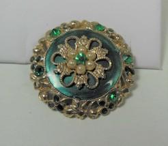 Gold Tone & Green Pin Brooch Green Rhinestones & Faux Pearls - $12.86