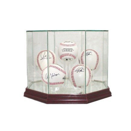 Glass Five (5) Baseball Display Case with Cherry Wood Molding (5-Ball)