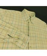 Zegna Sport Beige Flannel Check Shirt Sz L Button Down Collar Italy - $29.99