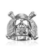 Herren Sterlingsilber Schädel und Bones Biker Ring - $59.98