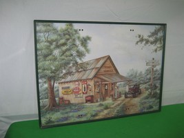 Coca Cola Print Picture Mike's Garage By Kay Lamb Shannon Green Metal Frame - $19.75