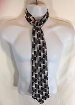 Black White Gray Rectangles Mens Silk Tie Pierre Cardin - $13.99