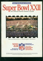 SUPER BOWL XXII-HOME VIEWER GUIDE-REDSKINS BRONCOS 1988 VG - $31.53