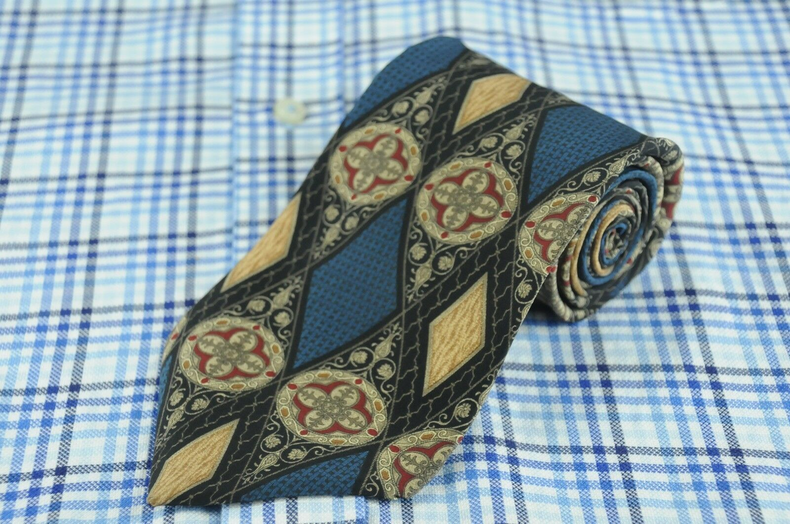 Primary image for Bill Blass Men's Blue Victorian Geometric Printed Silk Necktie 56 x 3.5 in.