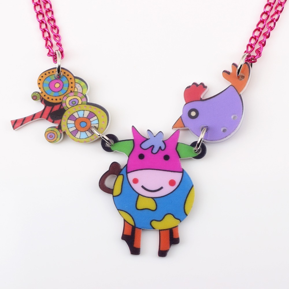 cow necklace pendant acrylic pattern 2016 news accessories spring summer cute an