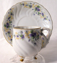Lefton footed demitasse cup hand painted vintage blue tan flowers gold trim - $13.25
