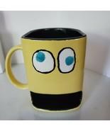 Yellow Ceramic Mug Googly Eyes Handwarmer space on bottom  - $13.85