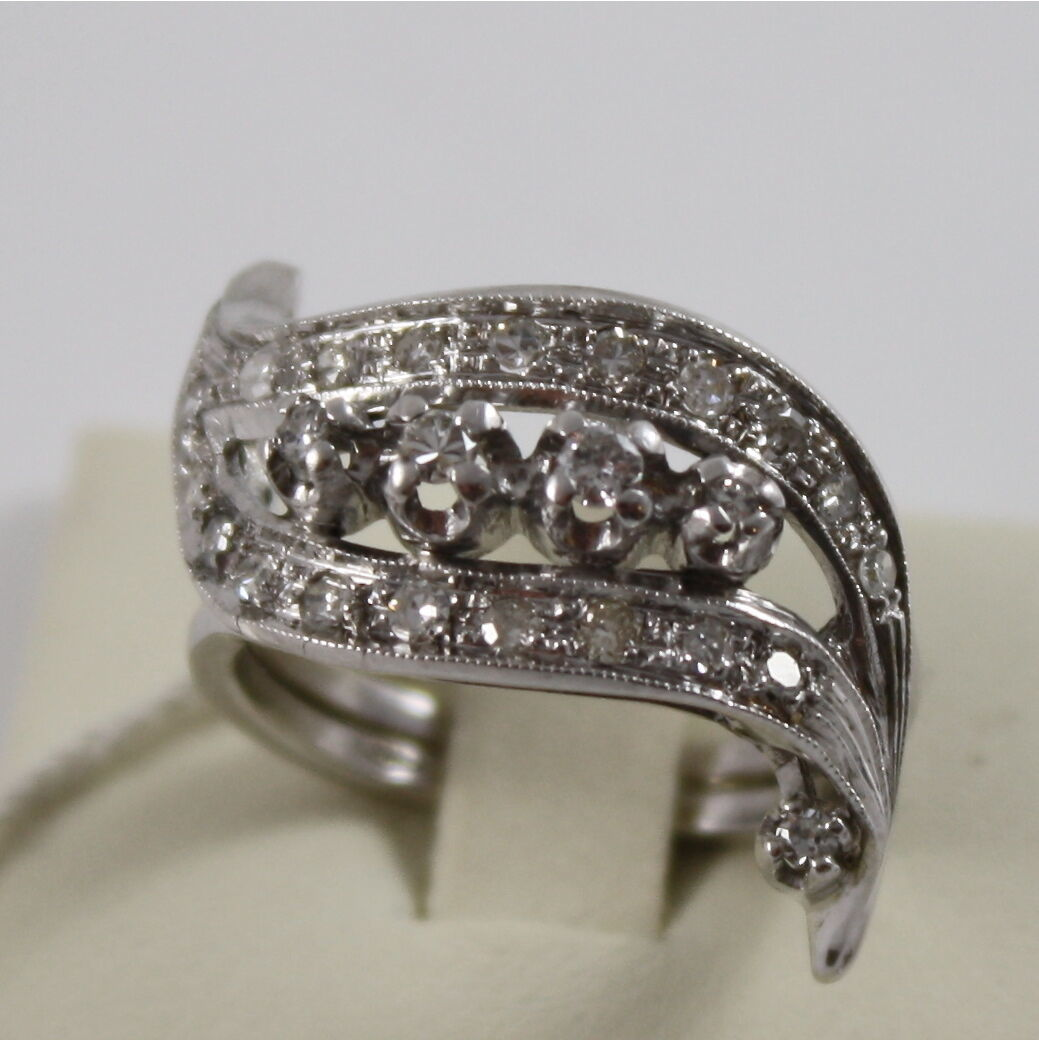 18K 750 WHITE GOLD ETERNITY RING WAVE WITH DIAMONDS, CT 0.45 MADE IN ITALY