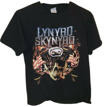 LYNYRD SKYNYRD Sz Small 2006 Tour Band T-shirt Black Skull Patriotic Mot... - $16.18