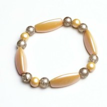 Handmade Beaded Stretch Bracelet Pale Pink Gold Handcrafted Jewelry Gift for Her - $14.99