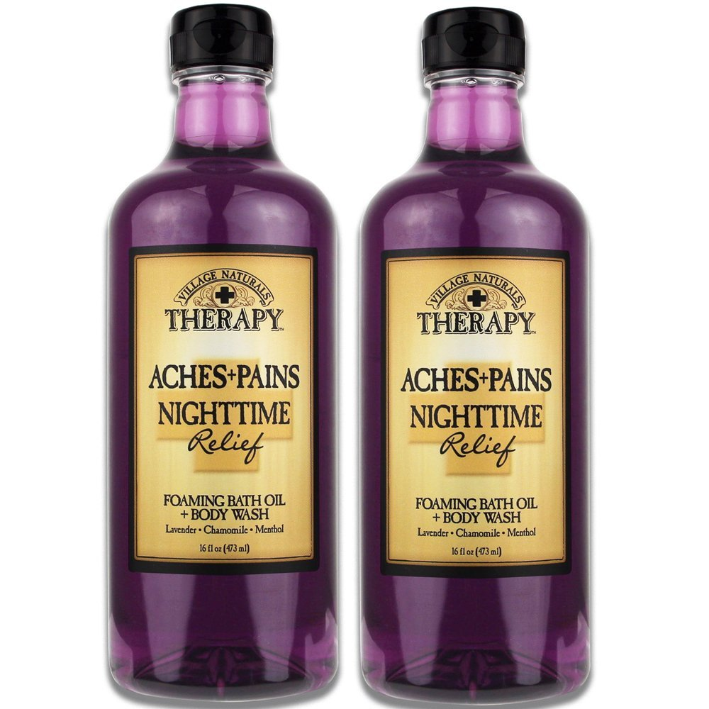 Village Naturals Aches and Pains Nighttime Relief Foaming Bath Oil