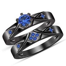 Bridal Engagement Ring Set In 10k Black Rhodium Finish Round Cut Blue Sa... - $45.88