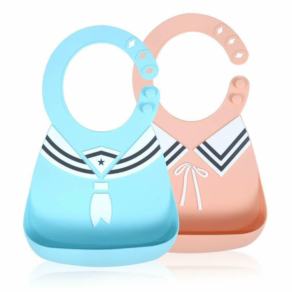 Silicone Baby Bibs for Babies & Toddlers Waterproof with Food Catcher (2pc)