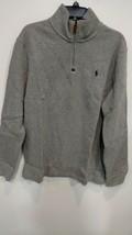 Polo Ralph Lauren Mens Half Zip French Rib Cotton Pullover Sweater Grey L - $43.65