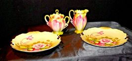 Green Red Floral cream and sugar with lid plus two plates Lefton NE 719 AA19-158 image 4