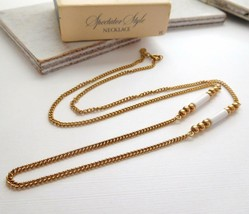 Vintage Avon Spectaculars Spectator Style Gold Chain White Bead Necklace O49 - $12.74