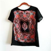Opaco Jeans Co. Womens Sz. M Black Scarf Print DesignTop - $24.26