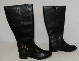 Soda HIROS Black Zip Up Riding Boot Gold Colored Accents Size Ten image 3