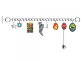 Marvel Comics Character Logos & Images Charm Bracelet with 8 Metal Charms UNUSED - £17.89 GBP