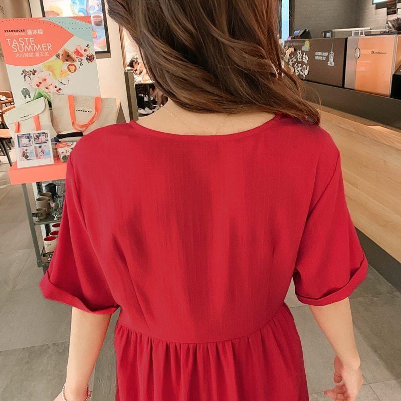 Maternity's Dress V Neck Short Sleeve Loose Solid Color Dress image 8