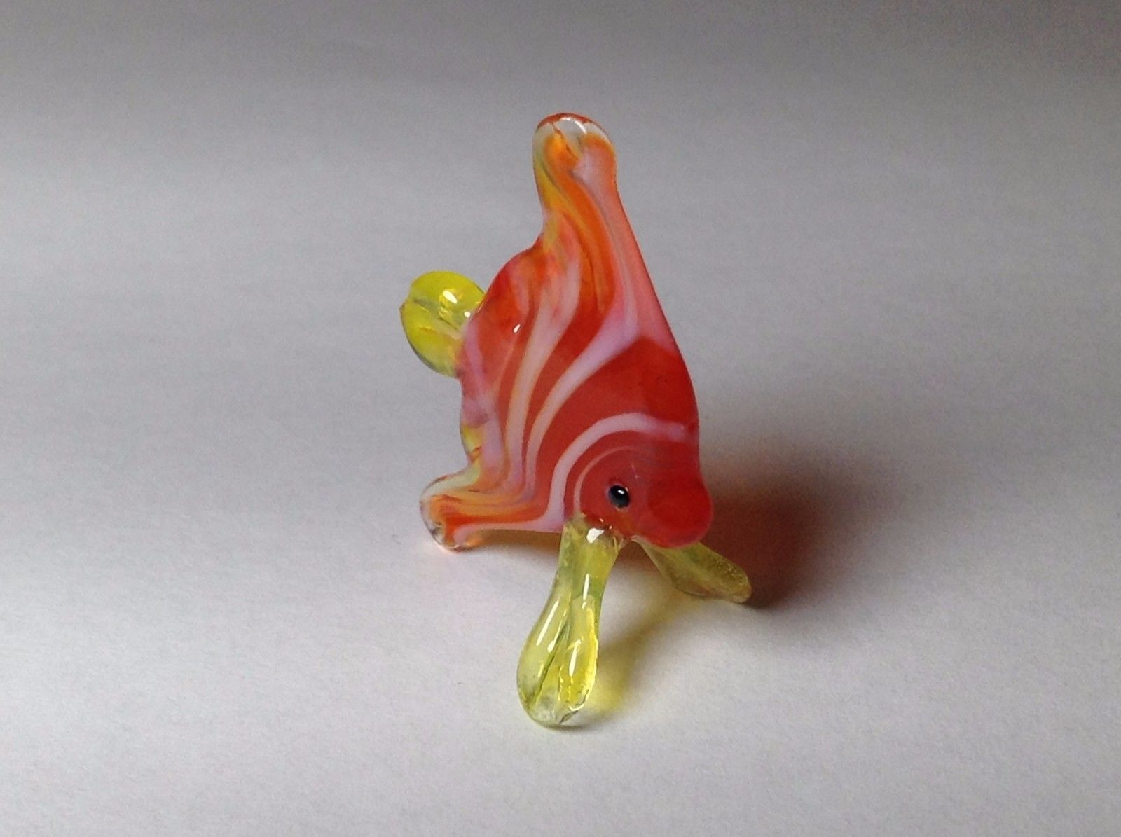 Miniature Glass Red Orange Striped Tropical Angel Fish Handmade Glass Made USA