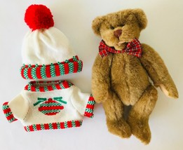 """Ganz Teddy Bear Dudley + Knit Christmas Sweater & Cap Cottage Collectibles 12"""" - $15.71"""