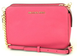 Michael Kors Adele Rubin Red dark pink Leather Shoulder Cross Body Bag R... - $253.34