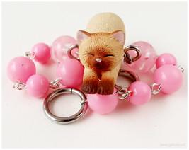 Cat Bracelet, Beaded Chain, Bubblegum Pink, Silver Tone - Kawaii Jewelry... - $19.00