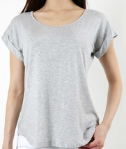 Grey Scoop Neck Blouse with Folded Sleeves, Short Sleeve, Womens Top Shirt, Gray