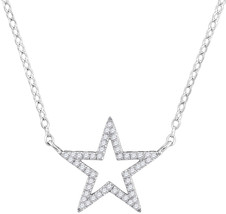 10k White Gold Womens Round Diamond Star Outline Pendant Necklace 1/8 Cttw - $197.00