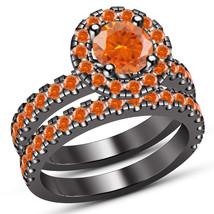 New Round Cut Orange Sapphire Wedding Bridal Ring Set With 14K Black Gol... - $88.79