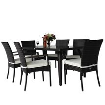 Rattan Garden Dining Set 7pcs Luxury Patio Furniture Rectangular Table 6 Chairs image 9