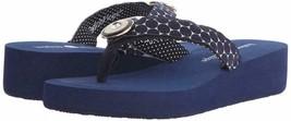 Lindsay Phillips Women's Navy Blue Taylor Wedge Flip Flop Sandal, US Siz... - $44.00