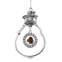 Inspired Silver Squirrel Circle Snowman Holiday Christmas Tree Ornament ... - $14.69