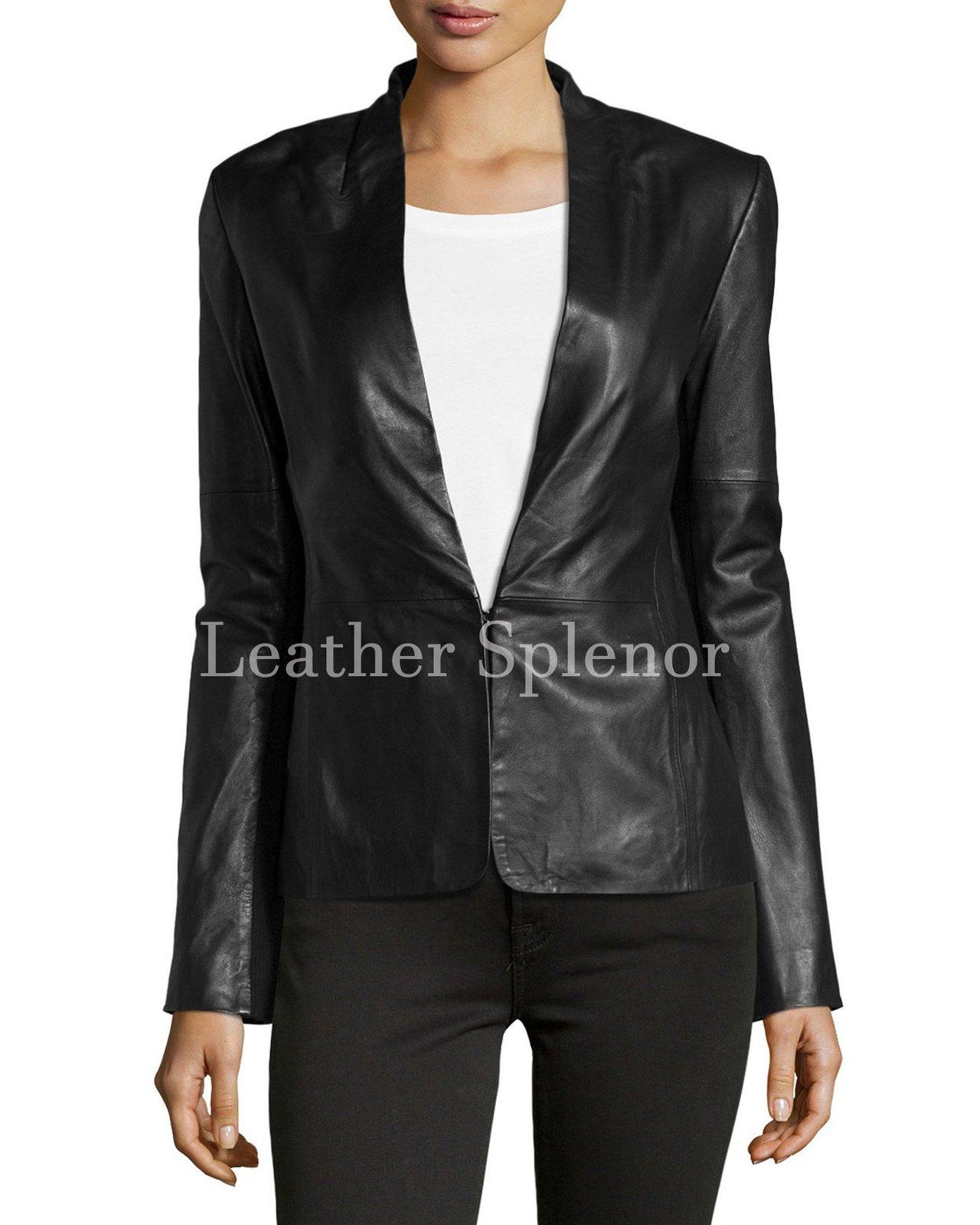 Paneled Women Leather Blazer