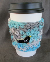 To Go Cup Cozy Sleeve in aqua blue and gray with black ceramic bird shap... - $5.95