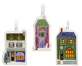 Unicef Holiday Scene House Ornaments, Set of 3 Christmas Ornaments Ceramic - $7.55