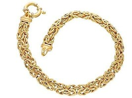 18K YELLOW GOLD BRACELET BYZANTINE ROUND TUBE LINK 6mm, 19cm MADE IN ITALY image 1
