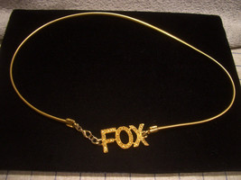 Collector 1980s Gold Tone Stretchable Flat Cord Belly Chain Belt FOX Rhinestones - $32.73