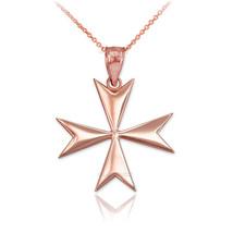 14K Polished Rose Gold Maltese Cross Pendant Necklace - €112,69 EUR+