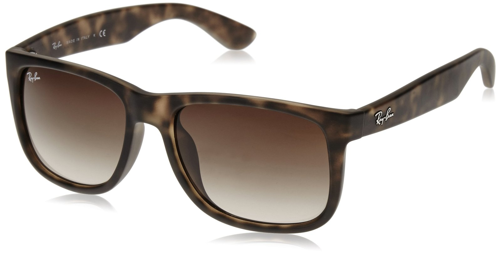 c69a877de91 Ray-Ban Men s Justin Rectangular Sunglasses Tortoise Brown Gradient 55.2 mm  -  190.07