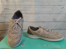 Rockport Sneakers Walking Shoes Womens 8.5 Gray Leather Suede Cutouts Lace Up - $21.49