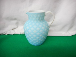 Antique Mt Washington Cut Velvet Light Blue Pitcher Scarse - $619.25