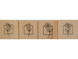 Anita's Flower Wood Mounted Rubber Stamps, Set of 4 image 1