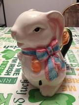 Secret Garden Porcelain Ceramic Easter Bunny Teapot Water Pitcher Decora... - $22.99