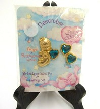 PRECIOUS MOMENTS DECEMBER BIRTH STONE EARRINGS ANGEL BROOCH LAPEL PIN GO... - $23.74