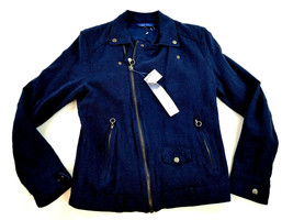 new ZARA MAN men jacket coat linen blue SLIM FIT size M MSRP $149 - $57.99