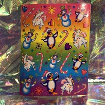MINT COMPLETE S224 Lisa Frank Christmas Unicorn & Penguins Sticker Sheet ❄️
