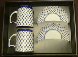 2 Big Mugs & Saucers Russian design Cobal Blue Net bone china tea set  - $59.35